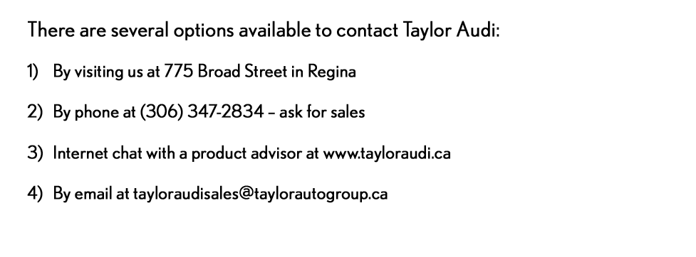 Taylor Audi - Taylor Your Way - contact us
