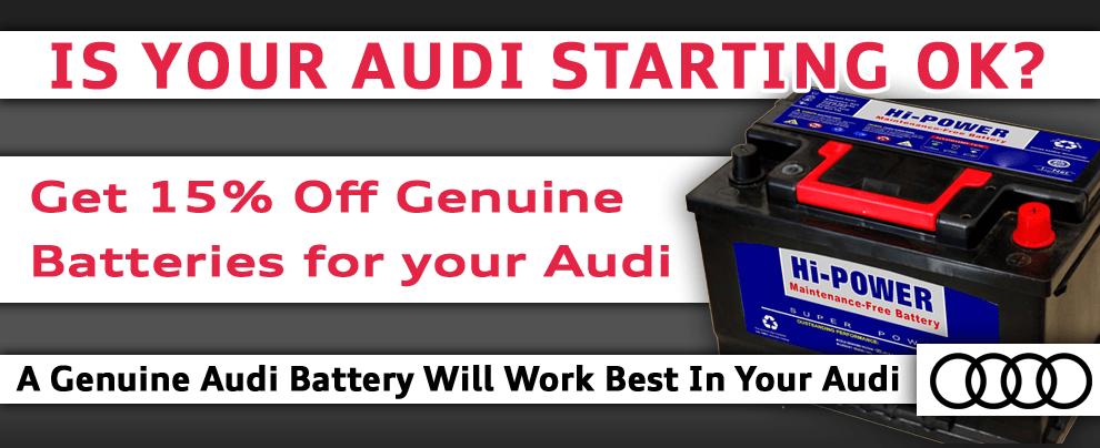 Get 15% off Genuine Audi Batteries